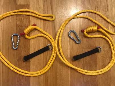 Hand made ropes, carabiners, over the door hangers